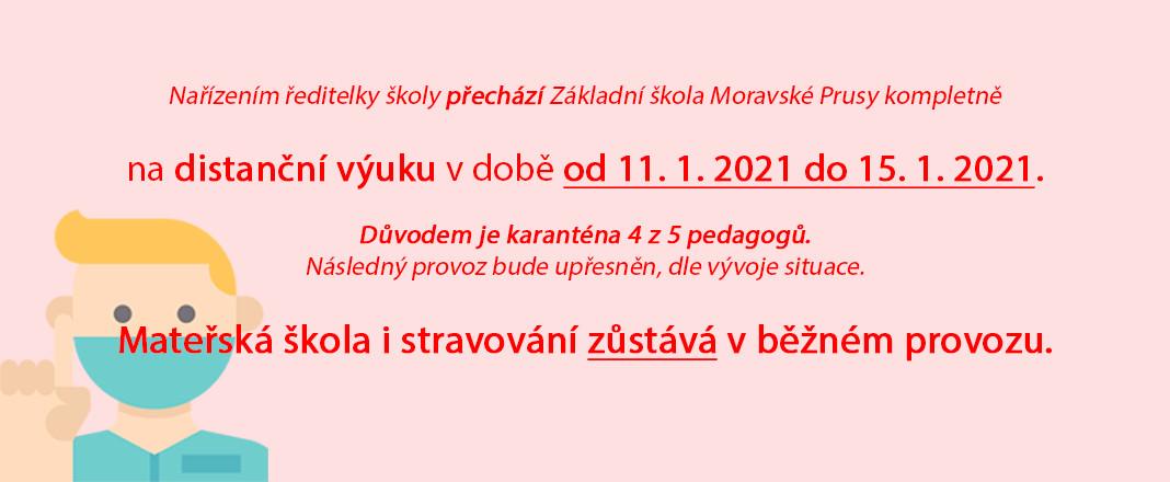 Distanční výuka od 11. 1. 2021 do 15. 1. 2021