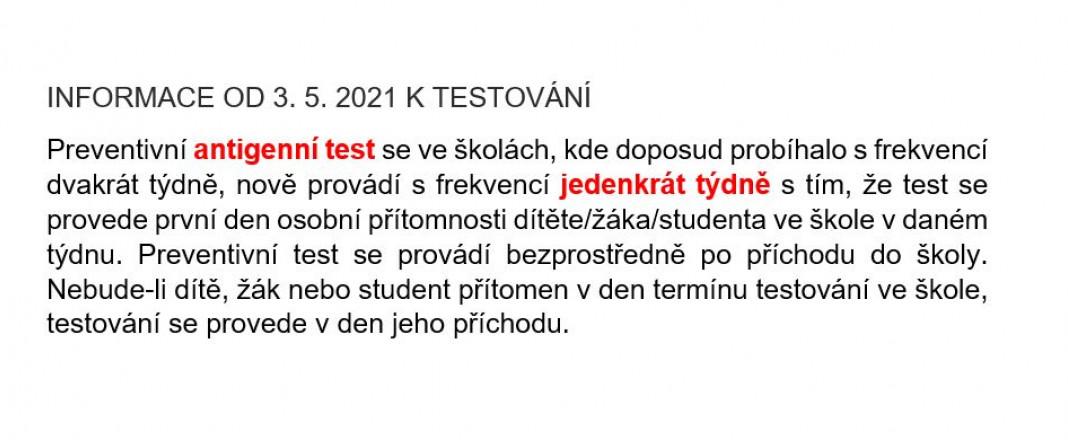 Informace o testování žáků